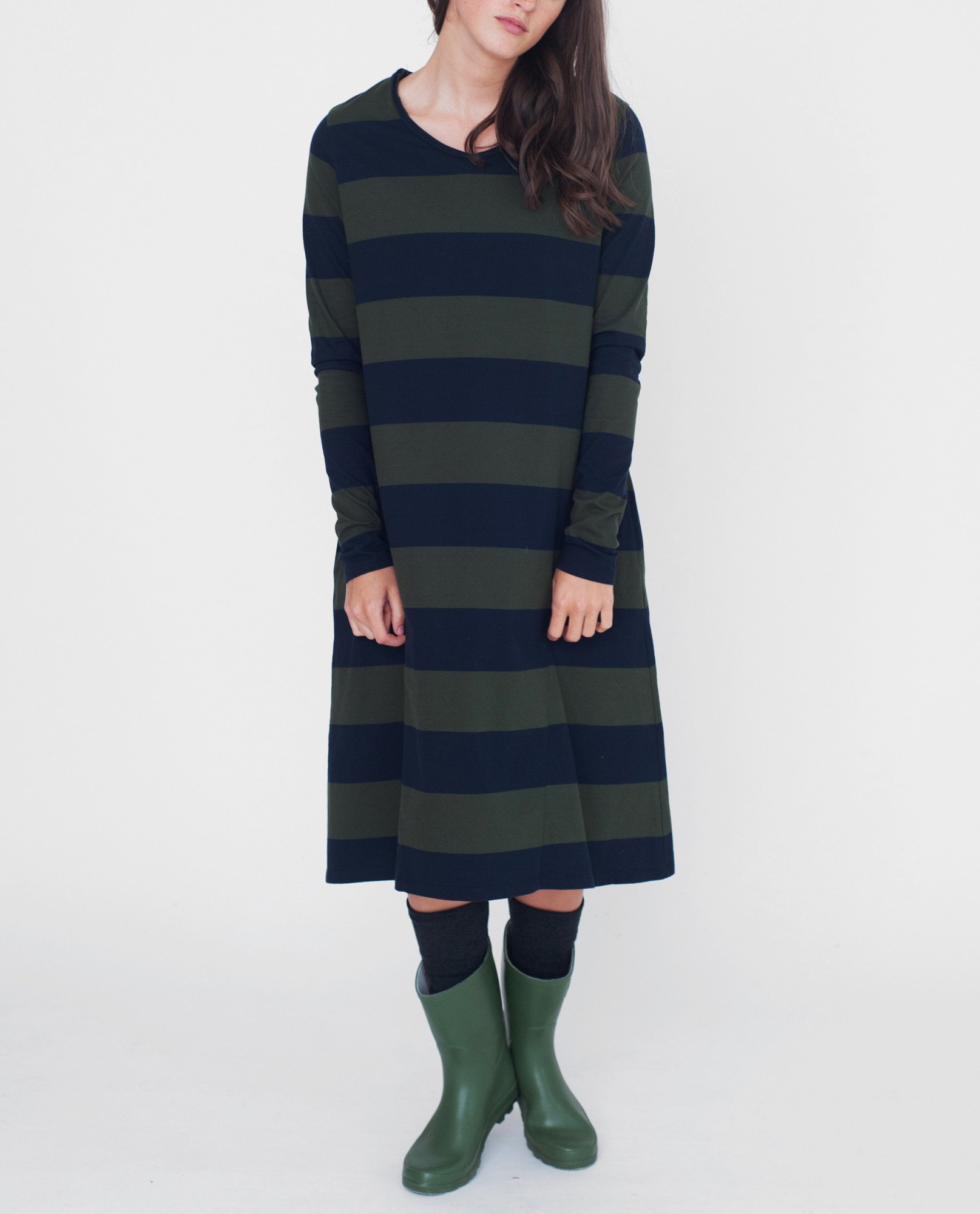 VICKY Organic Cotton Dress In Navy And Green from Beaumont Organic