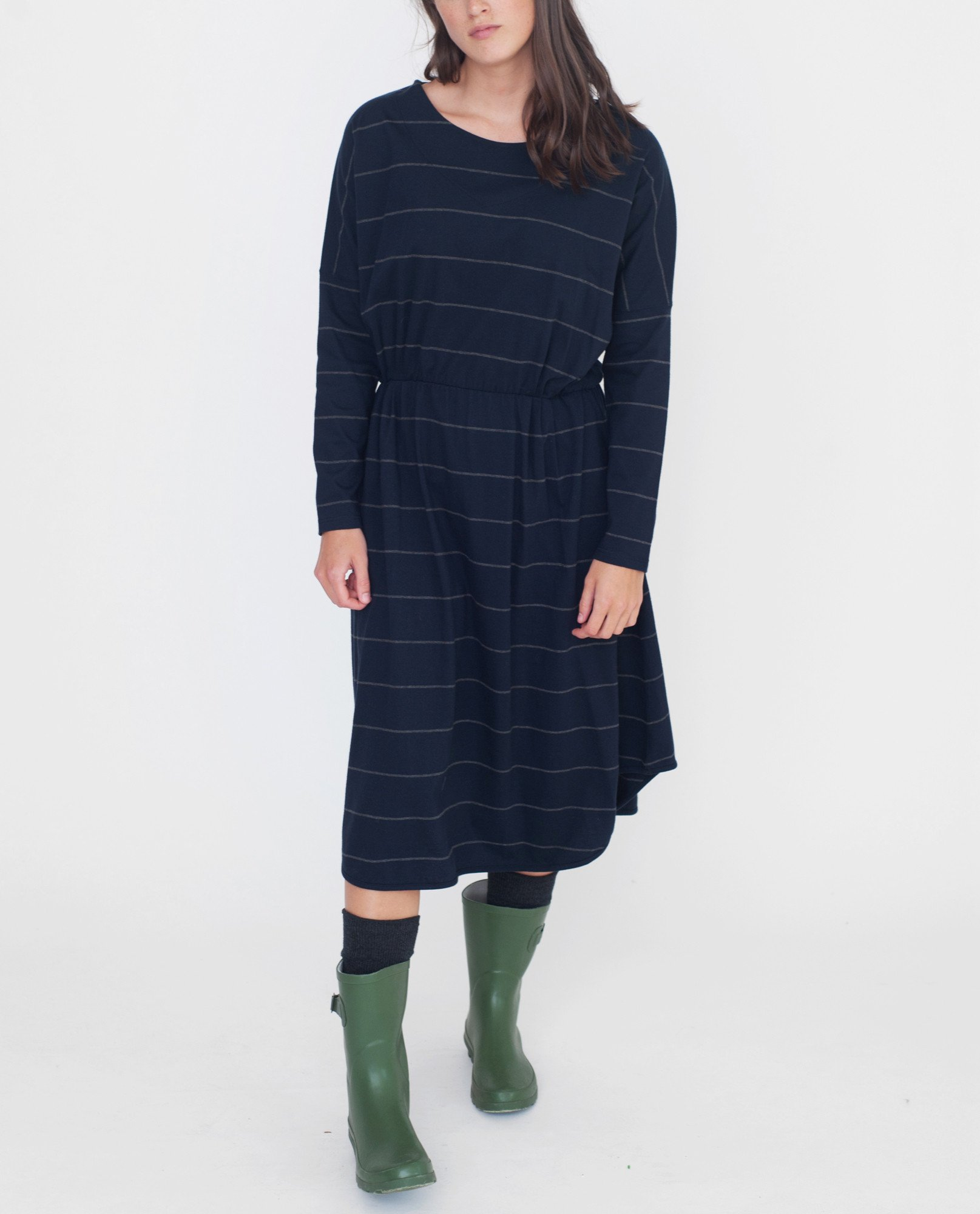 SARAH Organic Cotton Dress In Navy And Dark Grey from Beaumont Organic