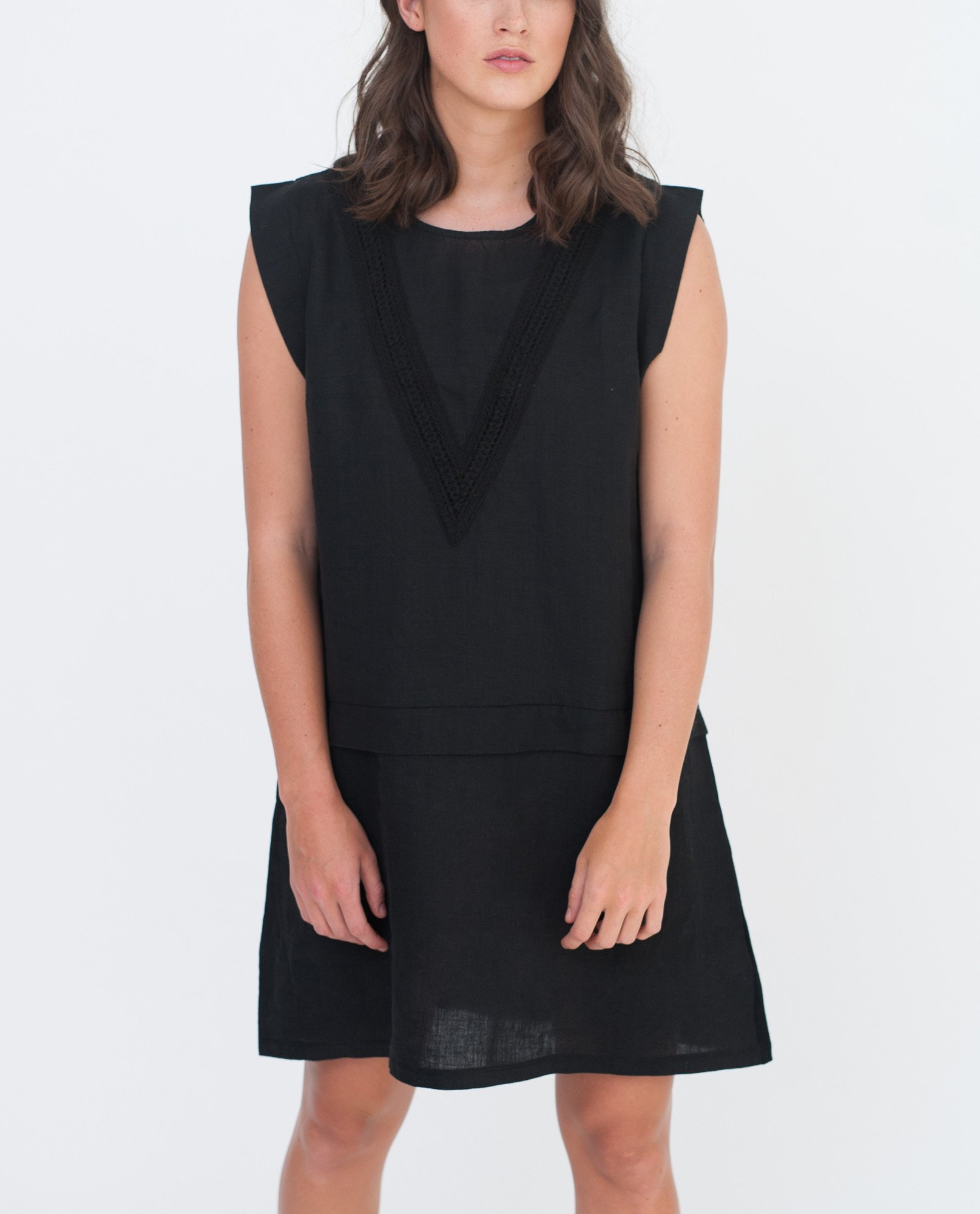 HADLEY Organic Cotton And Linen Dress In Black from Beaumont Organic