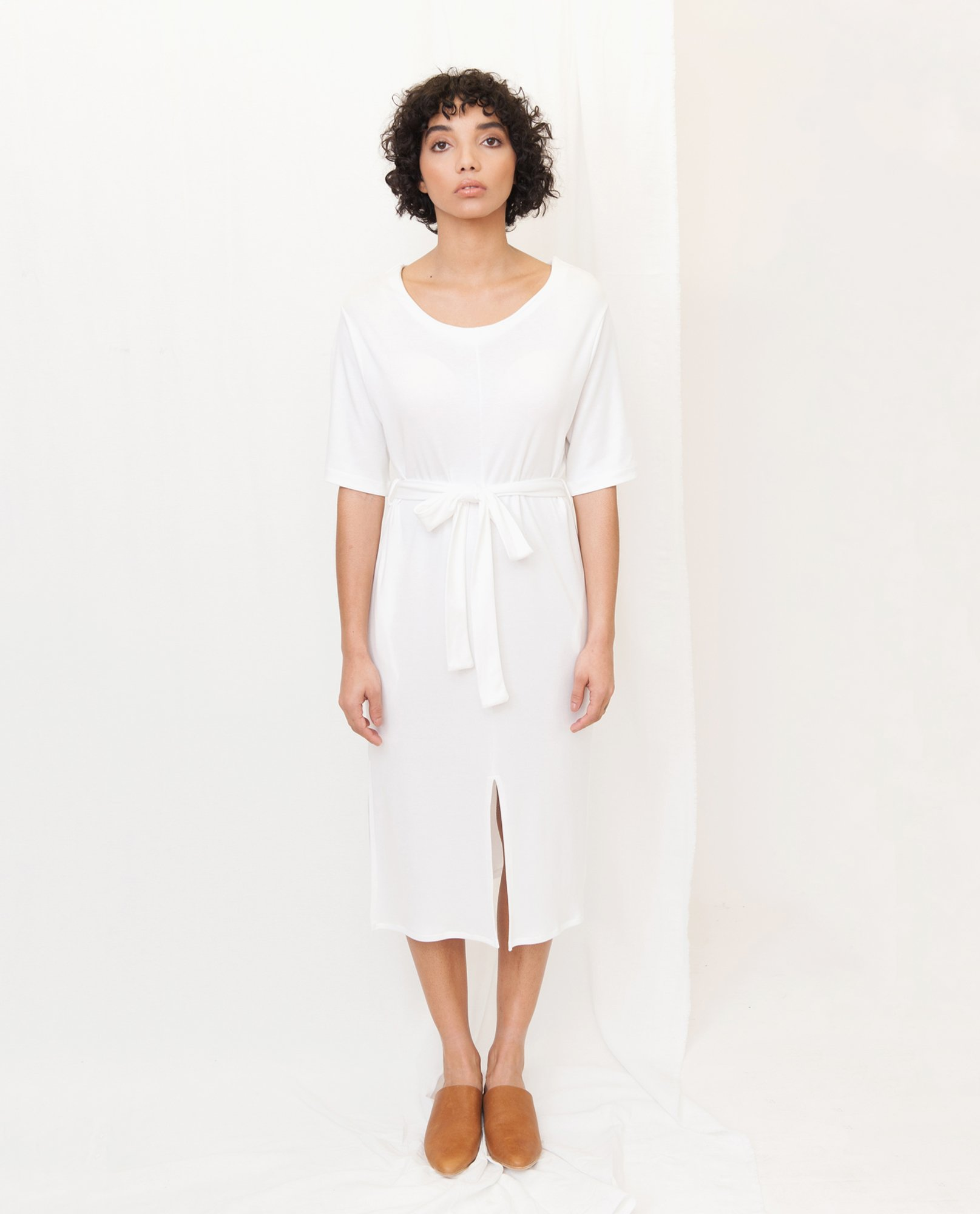 JULIET Lyocell Jersey Dress In Off White from Beaumont Organic