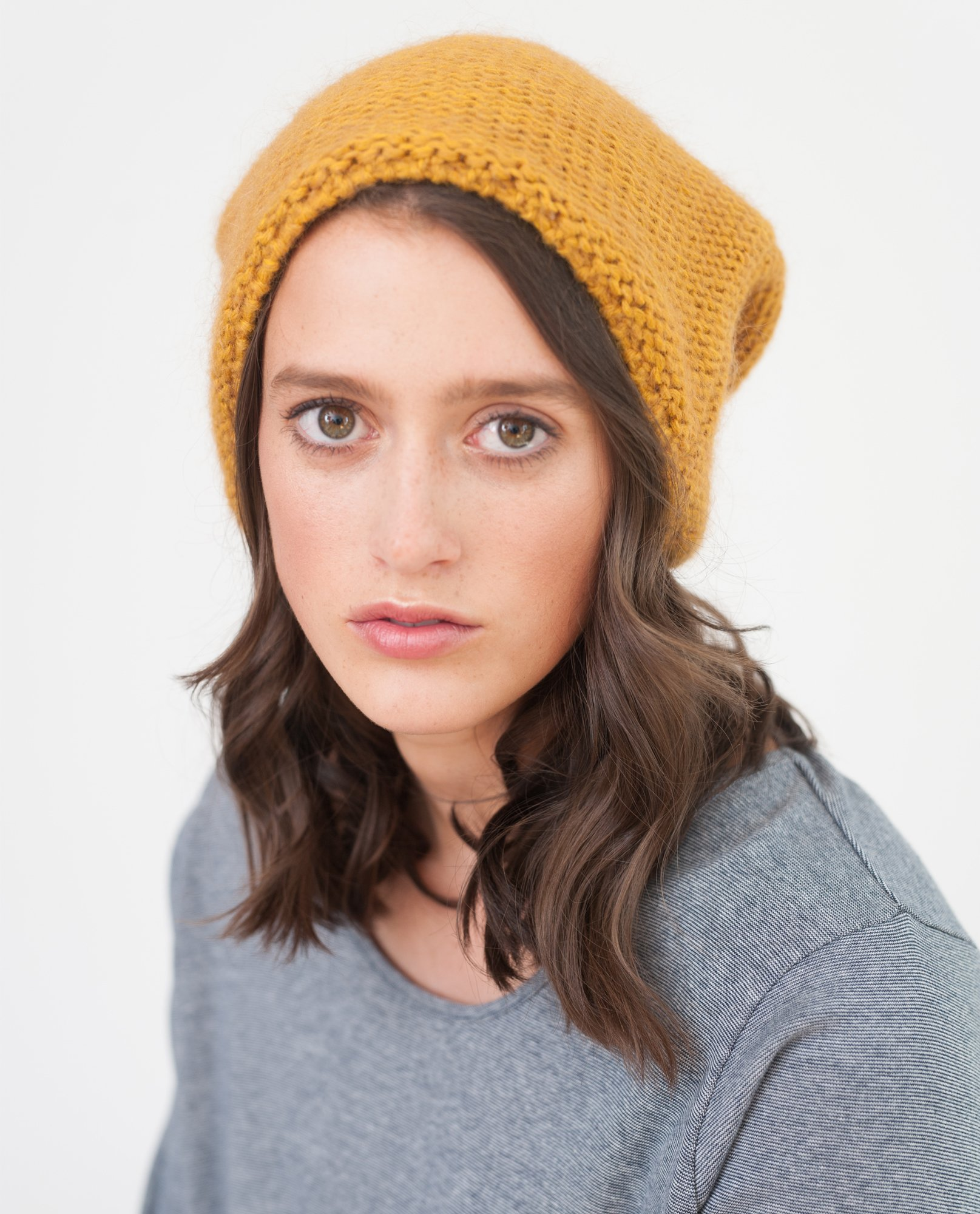 ELIZA Slouchy Wool Beanie Hat In Yellow from Beaumont Organic