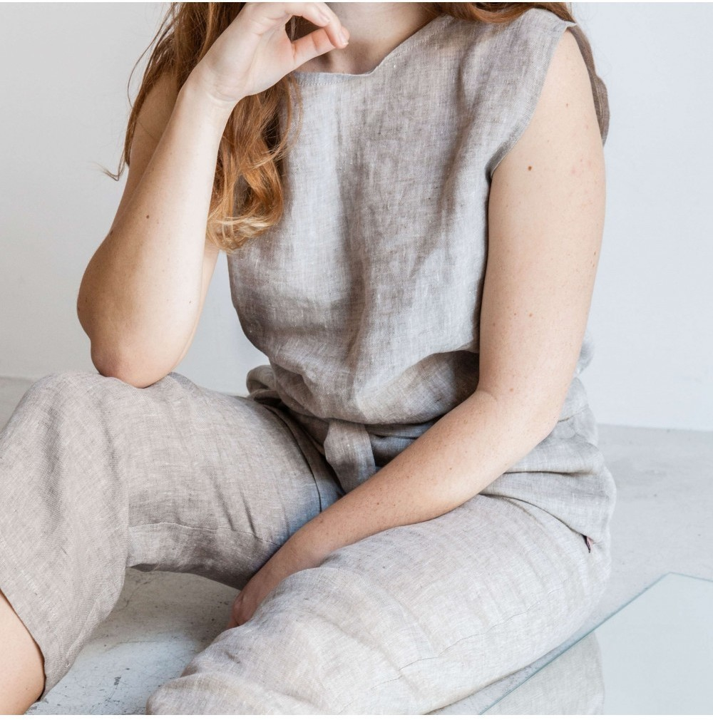 Linen Jumpsuit Beige from Mae Sue